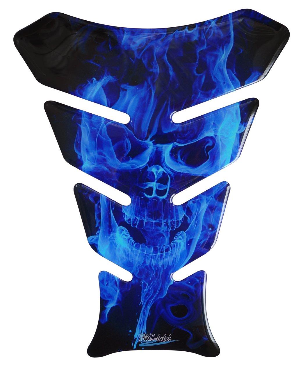 Honda Suzuki Ghost Blue Totenkopf-Motiv // Flammen Blau Kawasaki universell f/ür Yamaha Tankpad 3D BMW Triumph und Aprilia Tanks KTM 500067 Ducati