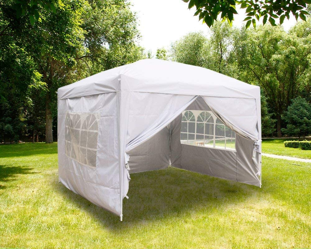 fam famgizmo 3x3m Pop Up Waterproof Gazebo in Beige with with Silver Protective Layer Marquee Canopy and 4 Leg Weight Bags Beige