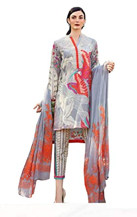 a6b22a3bb8 Madeesh Pakistani Suits for Women, Paki Style Cambric Cotton, Un Stitched  Dress Material,