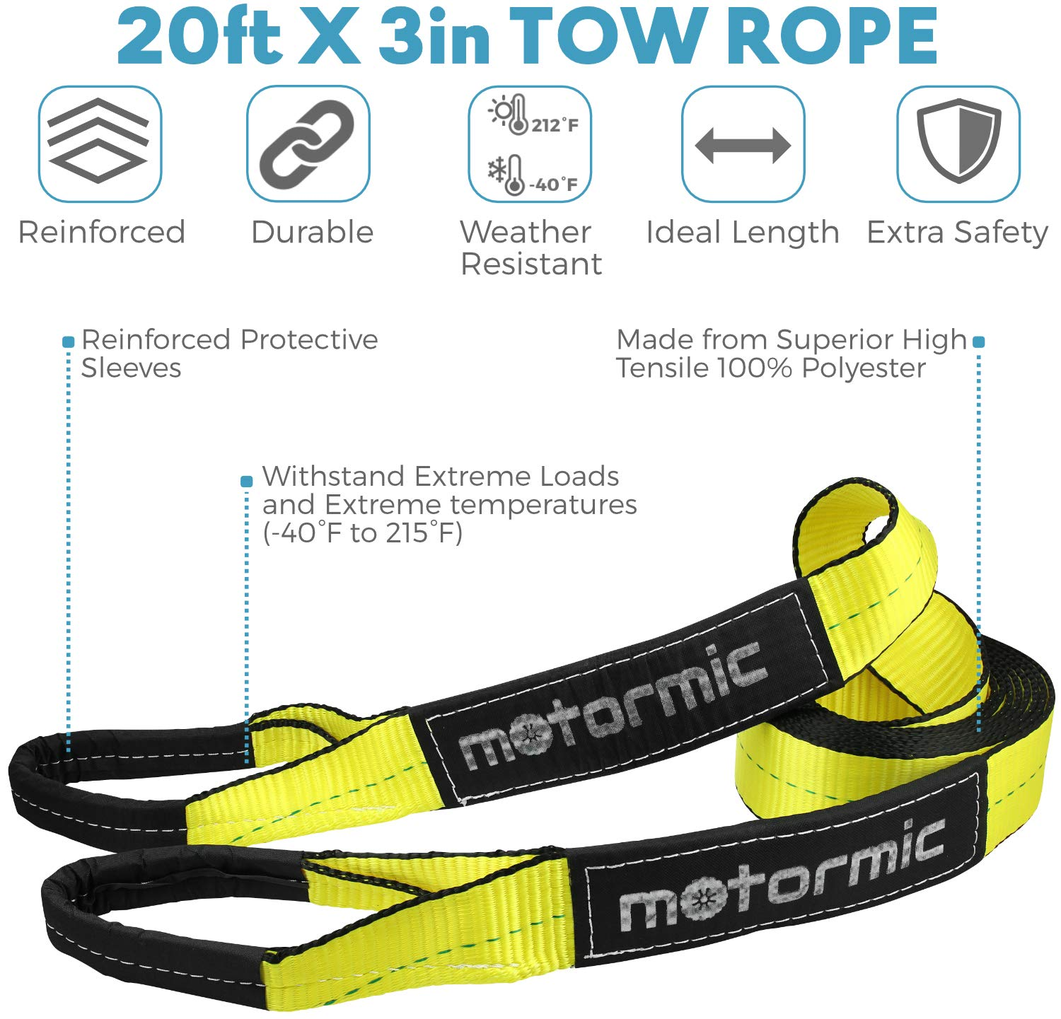 ATV 30,000 lbs. 3//4 D Ring Shackles Car 2pcs. 20 ft x 3 in Off Road Vehicle Towing Truck Tow Rope Heavy Duty Straps for Winch Motormic Tow Strap Recovery Kit + Storage Bag