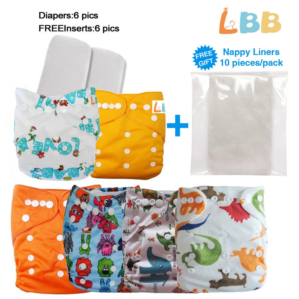 Amazon.com : Reusable Baby Cloth Pocket Diapers, 6 pcs + 6 Inserts ...