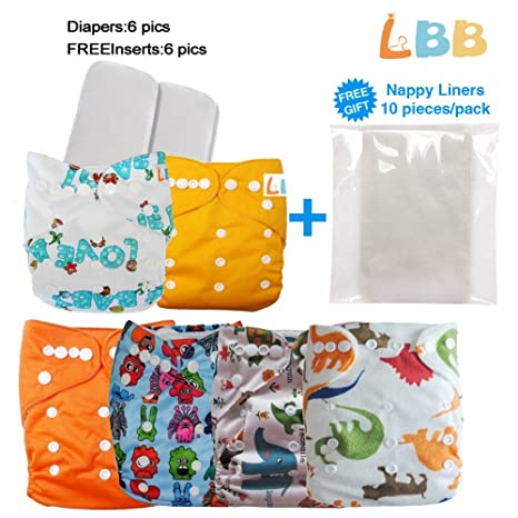 0a8c2d703f3 Buy Alva Reusable One Size Baby Cloth Pocket Diapers 6 pcs + 6 Inserts  Online at Low Prices in India - Amazon.in