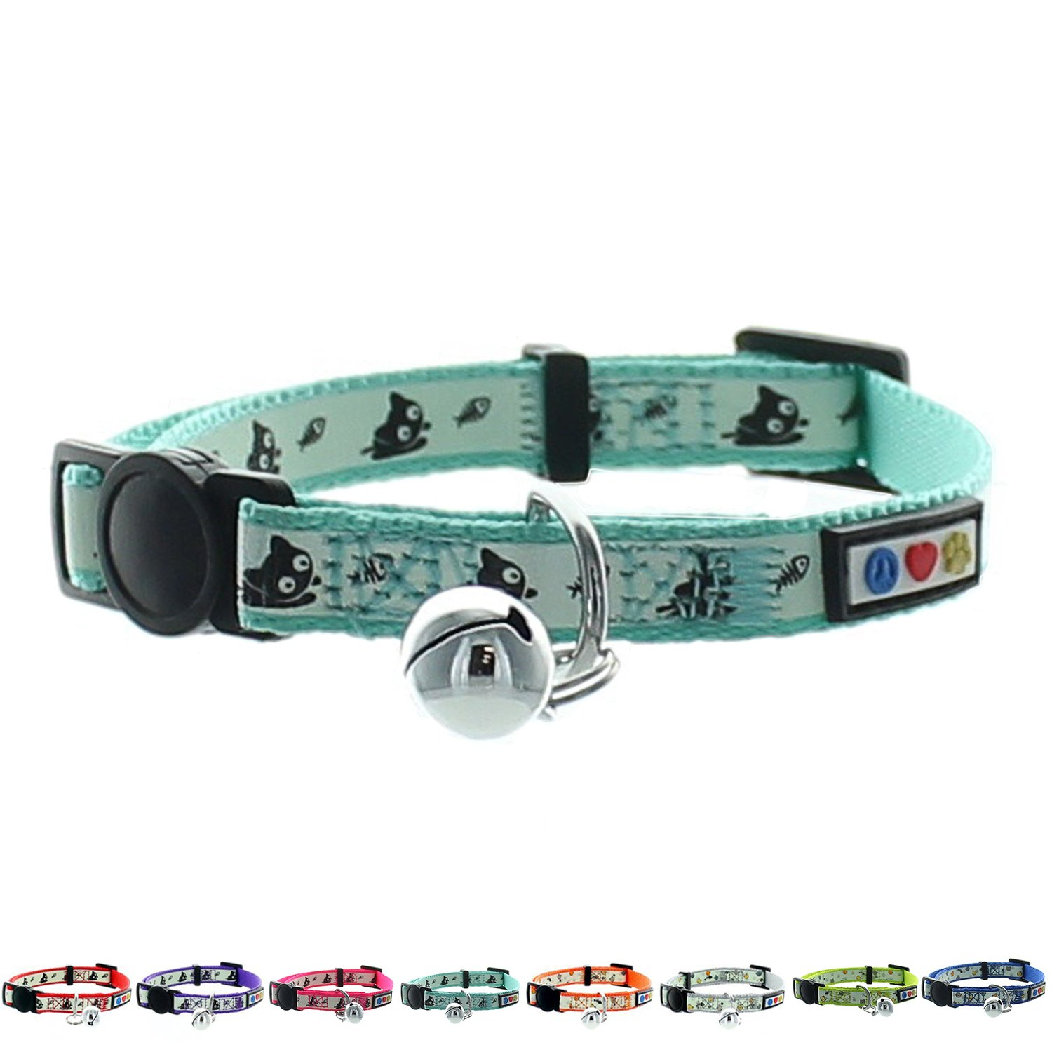Pawtitas Glow in The Dark Cat Collar Safety Buckle Removable Bell Cat Collar Kitten Collar Teal Cat Collar