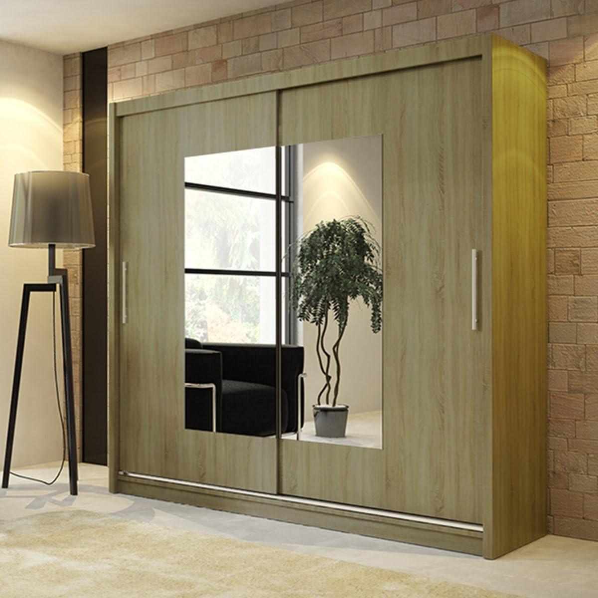Nuevo moderno armario Ava 6 Espejo 2 puertas correderas dormitorio armario ancho 180 cm/5,9 m: Amazon.es: Hogar
