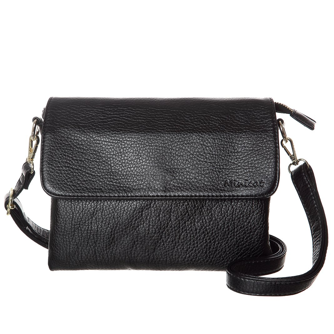 MINICAT Roomy Pockets Series Small Crossbody Bag Cell Phone Purse Wallet With RFID Blocking For Women (Black-Medium Size)