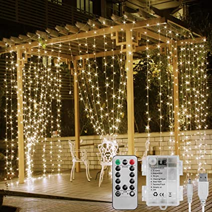 pretty nice feb81 da430 LE Window Curtain Lights, 3x3m Battery Operated or USB Powered, 300 LED  Warm White Fairy Lights, 8 Modes Water Resistant String Lights for Garden,  ...