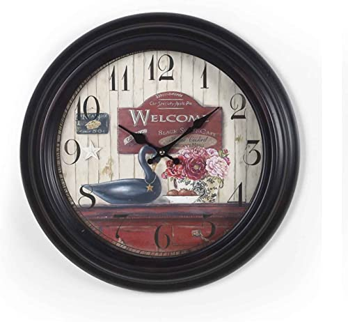 Asense Retro Vintage-Inspired Circular Wall Clock with Various Theme Black