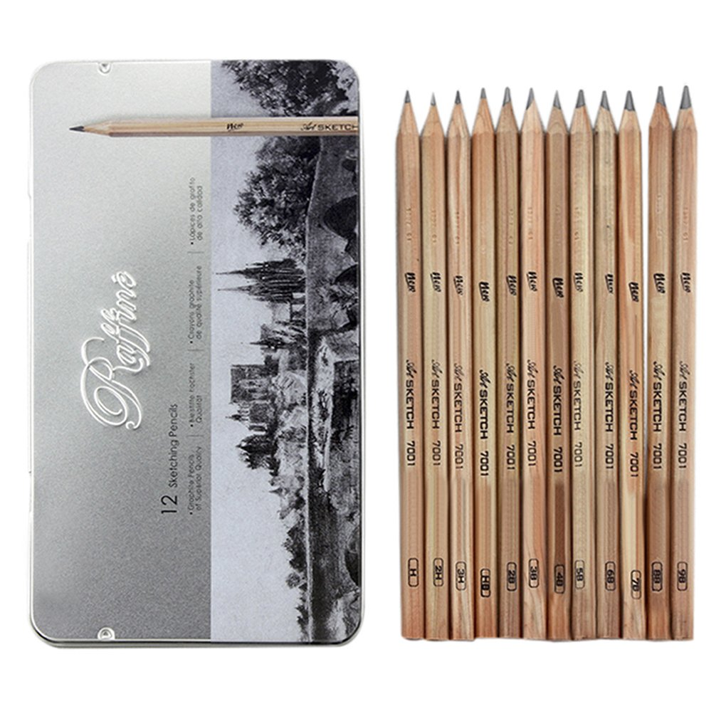 Drawing pencilsart pencils sketch travel set 12 pcs artist sketch drawing kit 9b 8b 7b 6b 5b 4b 3b 2b hb h 2h 3h wooden graphite pencil drawings with case