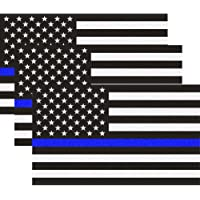Reflective US Flag Decal Packs with Thin Blue Line for Cars & Trucks, 5 x 3 inch American USA Flag Decal Sticker…