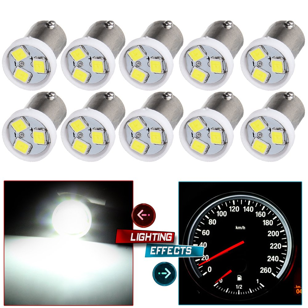 cciyu 10X White Dash BA9S 2835-3-SMD Instrument Panel Gauges Clock Ash Tray Light Bulb 53 53X 57 216 293 363 3886X Fits Replacement fit for 1974 Volvo/Pontiac/Plymouth/Oldsmobile/Buick