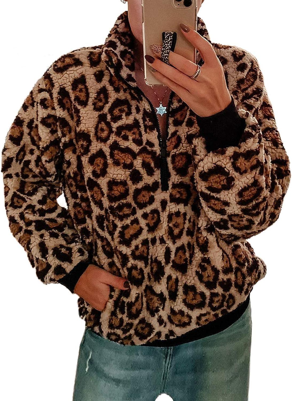 CORAFRITZ Womens Winter 1//4 Zip Long Sleeve Leopard Print Sherpa Pullover Warm Fleece Tops
