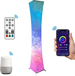 62'' Smart Floor Lamp, Voice Control, Works with Alexa & Google Home, Mood Lighting, Soft Light, WiFi App, RGB Dimmable LED, Music Sync Color Changing for Living Room Bedroom Party Decoration