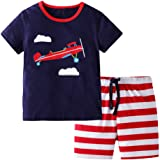 BIBNice Toddler Boy Clothes Kids Summer Cotton Outfits Shirt Short Sets Size 2-7T