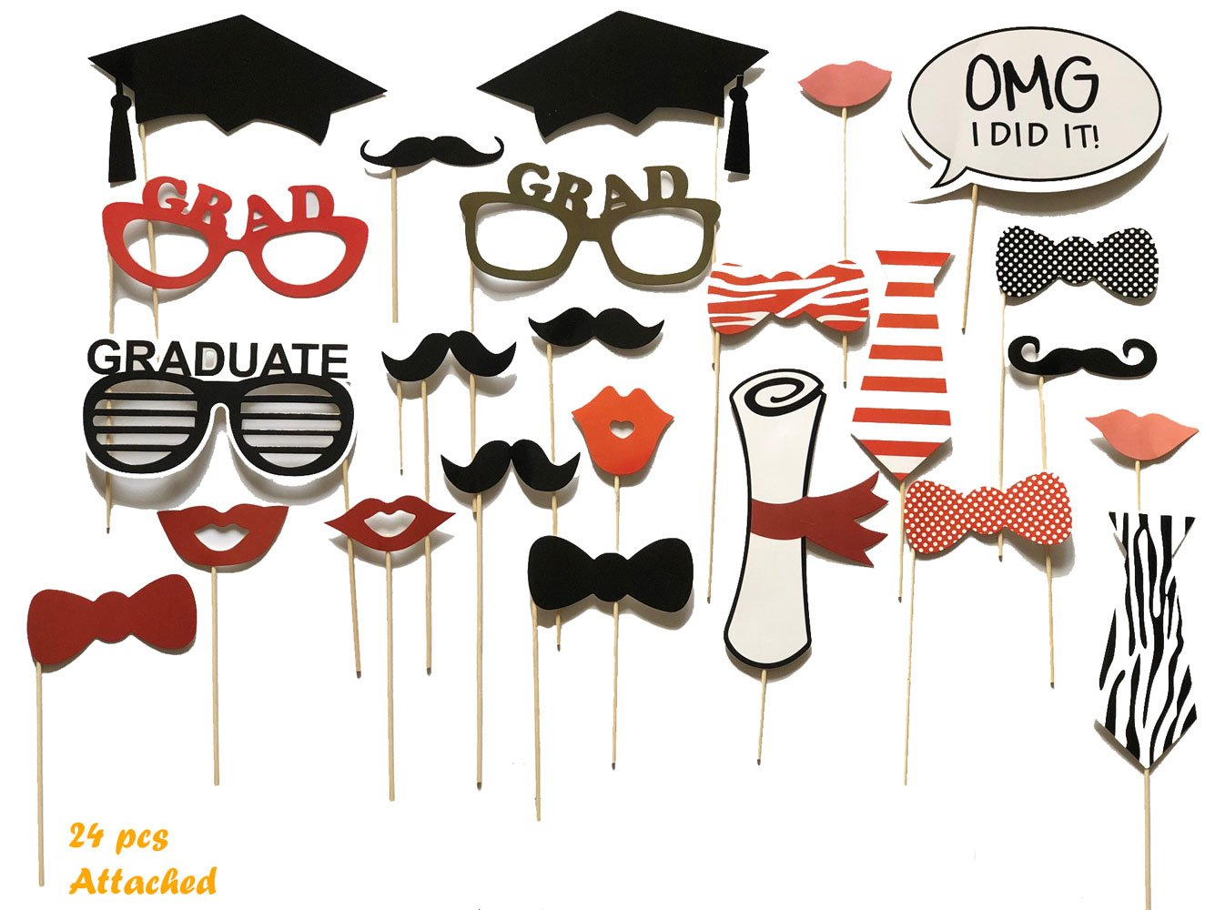 Graduation Party Photo Booth Props, Graduation Party Decorations, Attached to the Stick, NO DIY REQUIRED, only by USA-SALES Seller