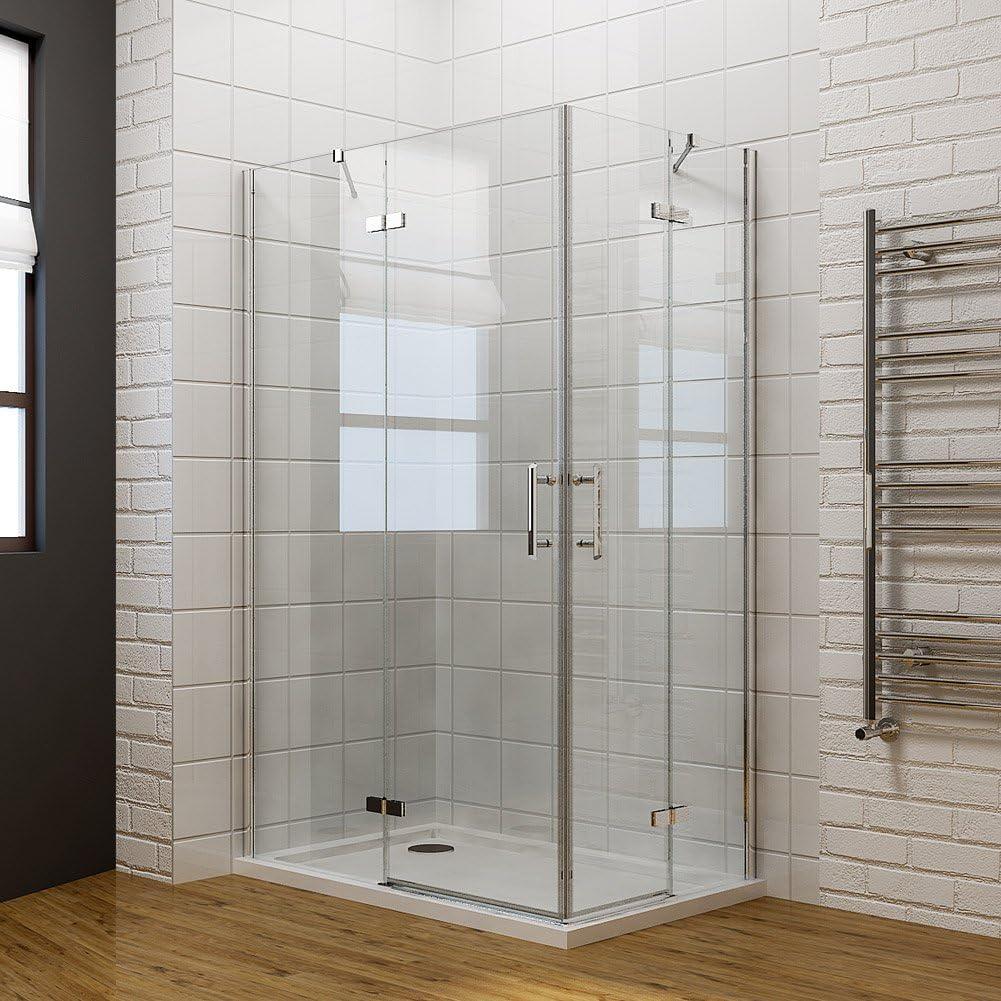 Entrada en Curva ducha almacenaje doble puerta corredera cabina de ducha Puerta de cristal con plato de ducha, 1200 x 800mm Shower Enclosure + Tray: Amazon.es: Hogar