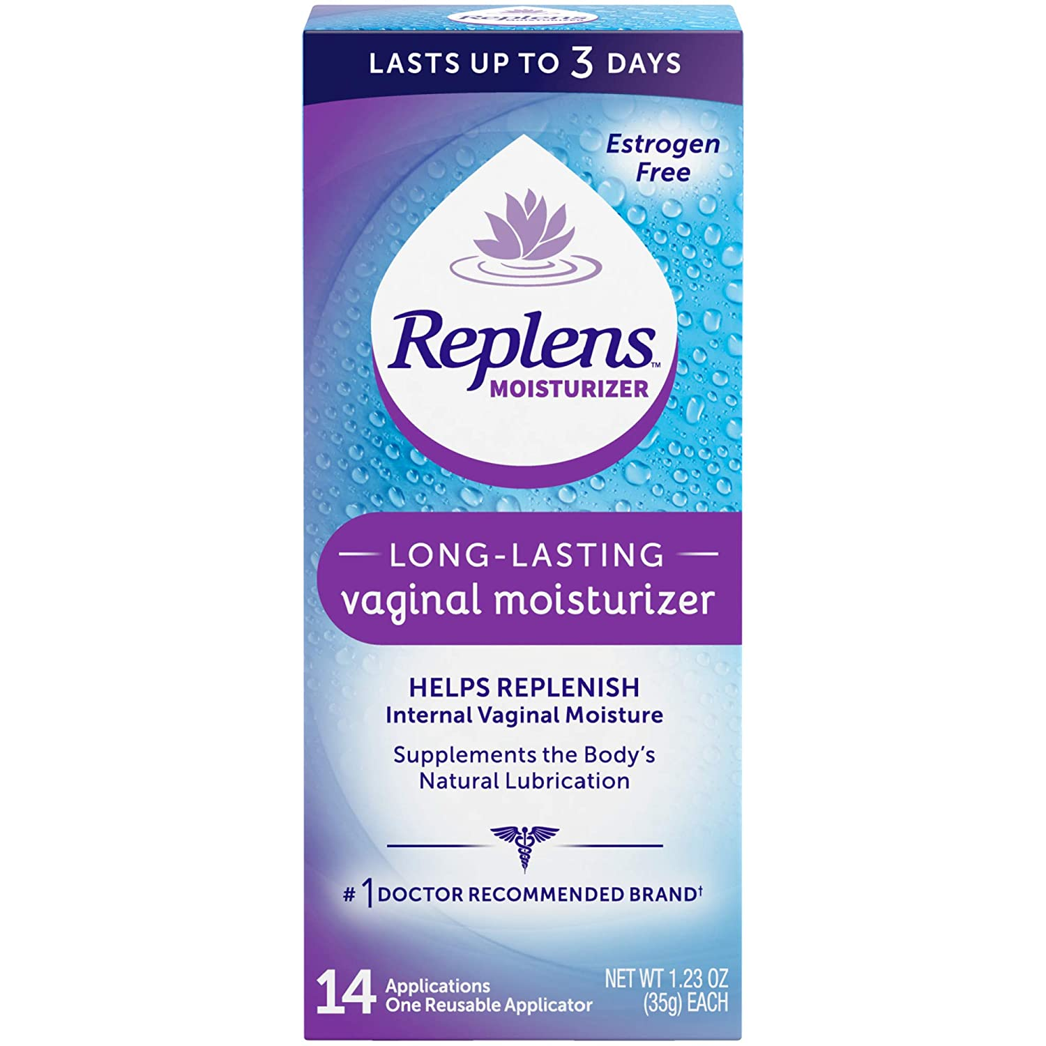 Replens Long-Lasting Vaginal Moisturizer, 14ct with reusable applicator: Health & Personal Care