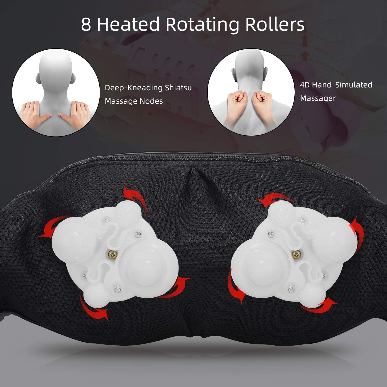 Shiatsu Neck Shoulder Massager Electric Back Massage with Heat Remote Control Deep Tissue 4D Kneading Massagers for Neck, Shoulders, Back, Feet, Legs, Body Muscle Pain Relief at Home, Office Car
