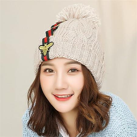 Hat female winter fall and winter hat ladies cute cap plus velvet elastic  knit hat padded 60b31684fc3