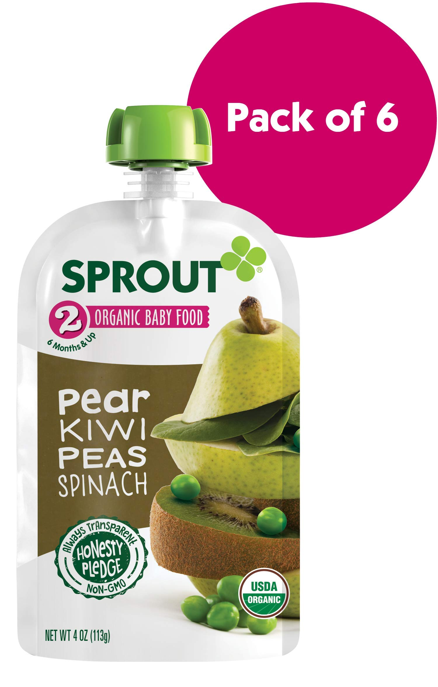 Sprout Organic Stage 2 Baby Food Pouches, Pear Kiwi Peas Spinach, 4 Ounce (Pack of 6)