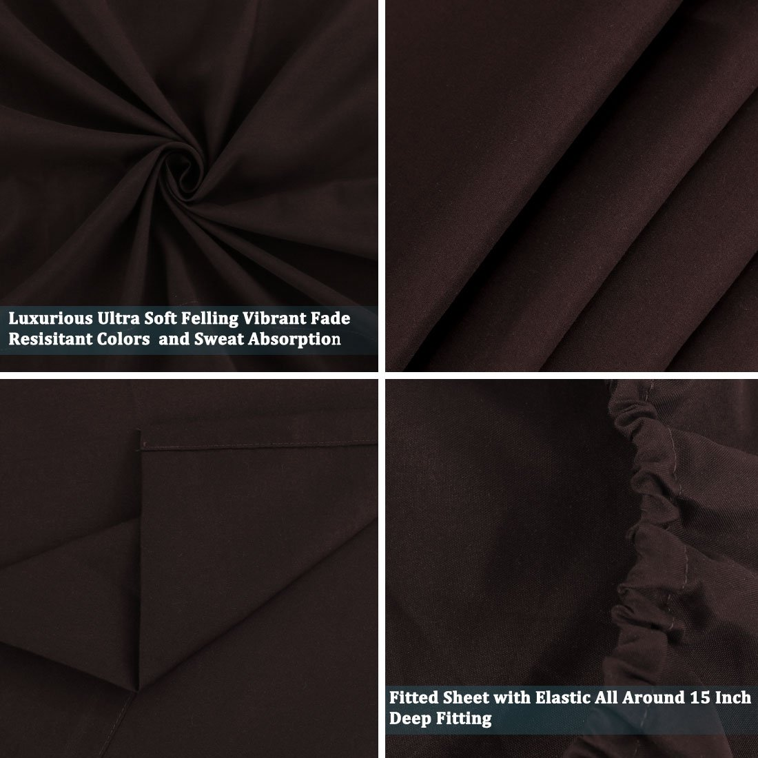 Sourcingmap 4-Pieces Full Sheet Set Microfiber Brushed Fabric Wrinkle and Fade Resistant Breathable Comfortable Soft Dark Brown