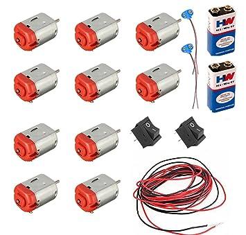 vyga 6v-12v Standard dc Motor (10 Pcs), 9V Battery (2 Pcs) with Snap(Connector), on 1.2 volt batteries in parallel, 9 volt battery in parallel, battery chargers in parallel,