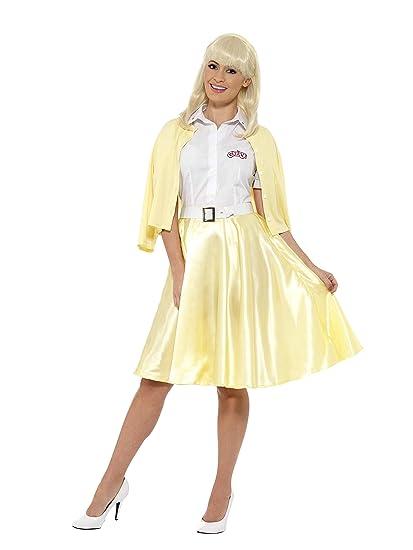 Smiffys-42900M Licenciado Oficialmente Disfraz de Sandy de Grease, Amarillo, con Camisa, Falsa Chaqueta, Falda, cinturó, Color, M-EU Tamaño 40-42 ...