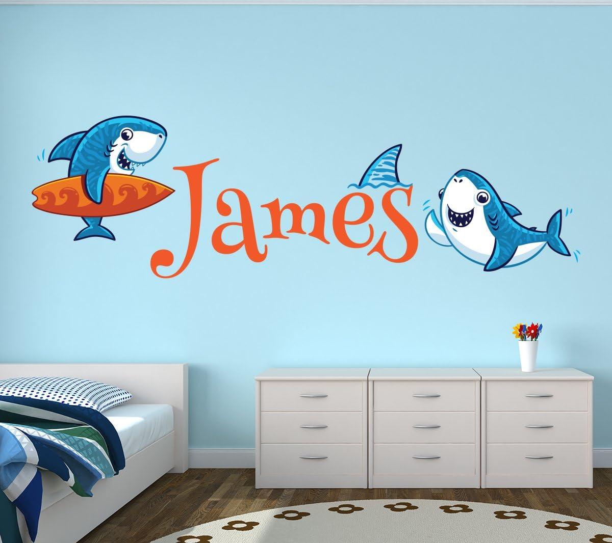"Lovely Decals World LLC Custom Shark Name Wall Decal Nautical Nursery Baby Room Mural Kids Art Decor Vinyl Sticker LD18 (32"" W x 12"" H)"