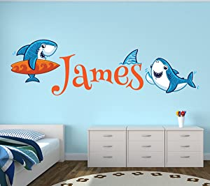 "Lovely Decals World LLC Custom Shark Name Wall Decal Nautical Nursery Baby Room Mural Kids Art Decor Vinyl Sticker LD18 (52"" W x 20"" H)"