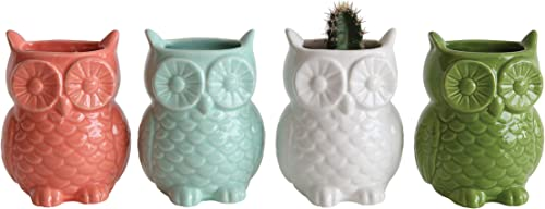 Creative Co-Op Stoneware Owl Shaped Vases with Magnets Set of 4 Colors