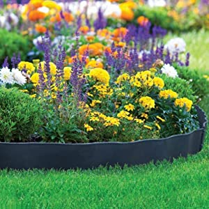 "Abba Patio Recycled Plastic Decorative Garden Border and Edging Section Set-6 Pack, 24.2"" x 5.4"", Black"