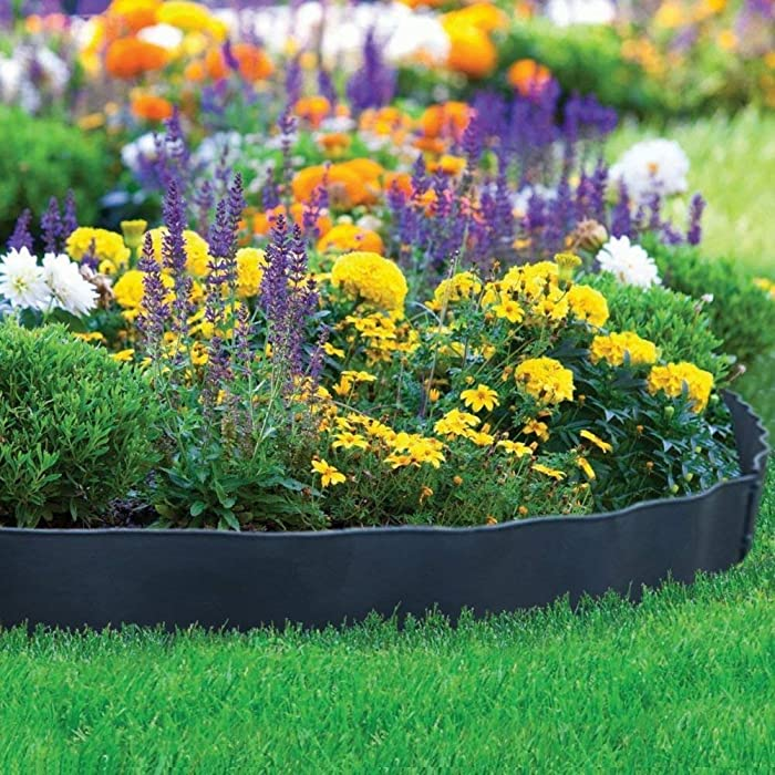 """Abba Patio Recycled Plastic Decorative Garden Border and Edging Section Set-6 Pack, 24.2"""" x 5.4"""", Black"""
