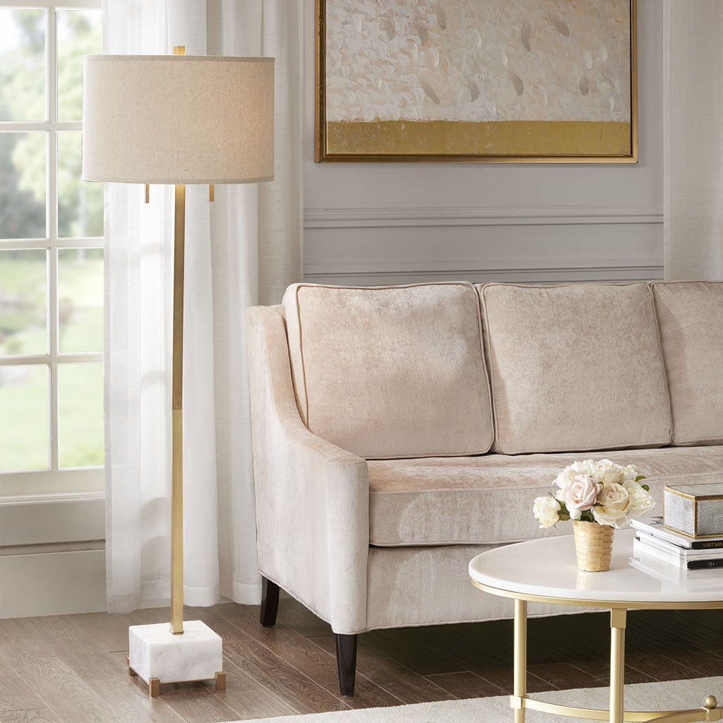 MADISON PARK SIGNATURE Leyton Floor Lamp White/Gold See Below