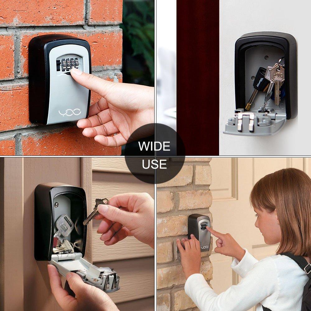 YDO Key Storage Lock Box Secure 4 Digit Combination Case Wall Mounted Organizer (Black) by YDO (Image #6)