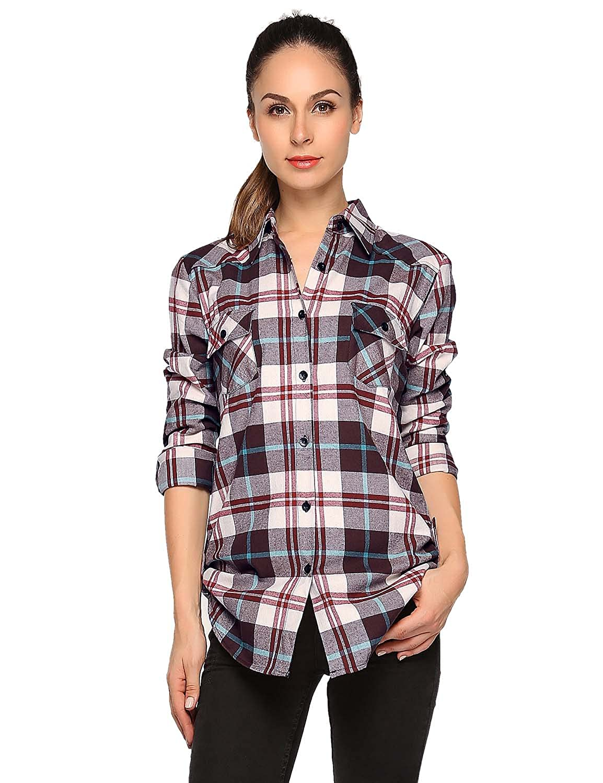 2021 Checks 17 Match Women's Long Sleeve Flannel Plaid Shirt