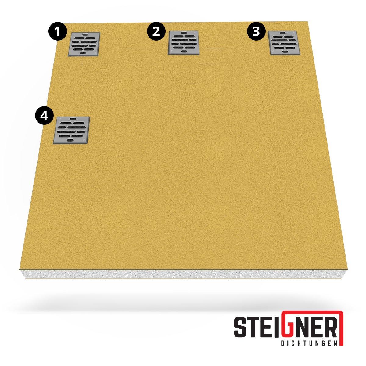 STEIGNER Receveur de Douche Mineral ProfiI Drain Ponctuel D/écentralis/é Position 2 Drain Horizontal 90x120 cm