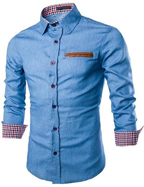 2695a4368d6 XI PENG Men s Western Dress Chambray Work Button Down Long Sleeved Denim  Shirts at Amazon Men s Clothing store