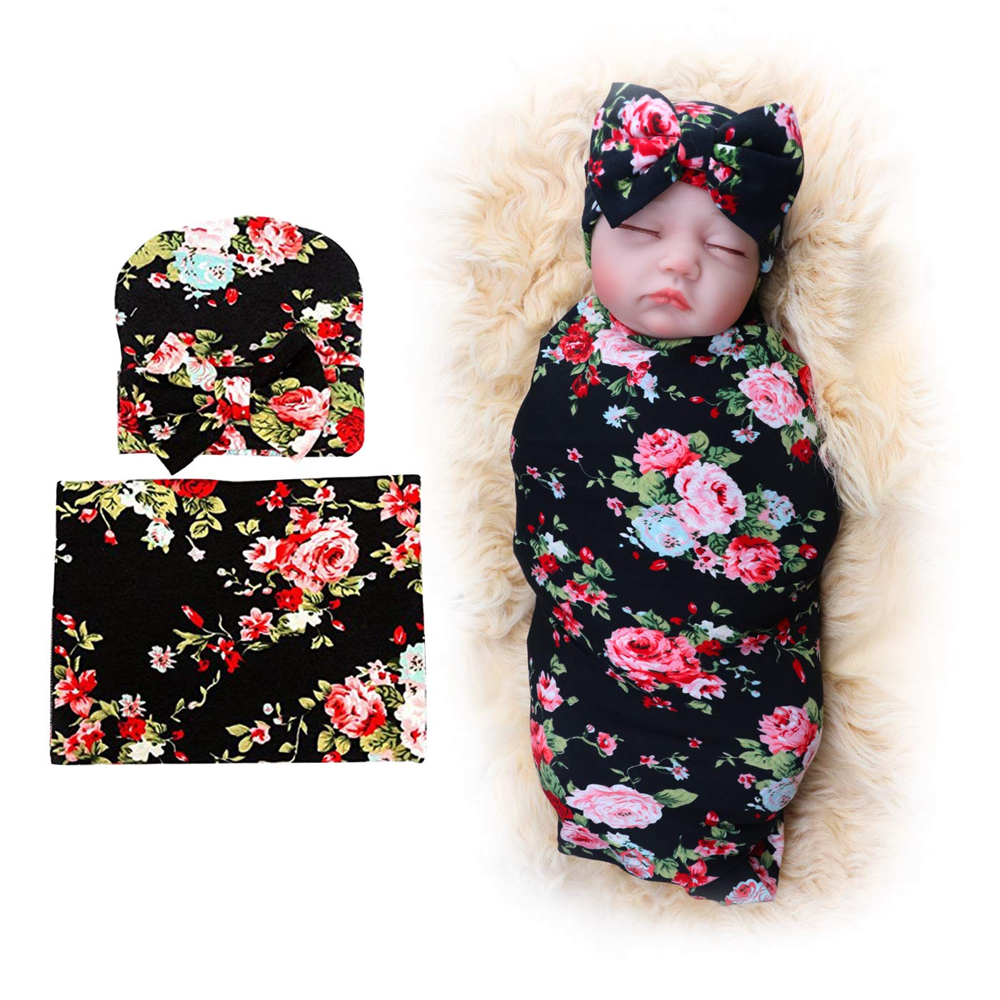 1 Pack BQUBO Newborn Floral Receiving Blankets Newborn Baby Swaddling with Headbands or Hats Sleepsack Toddler Warm IC0003 IC0003-4A