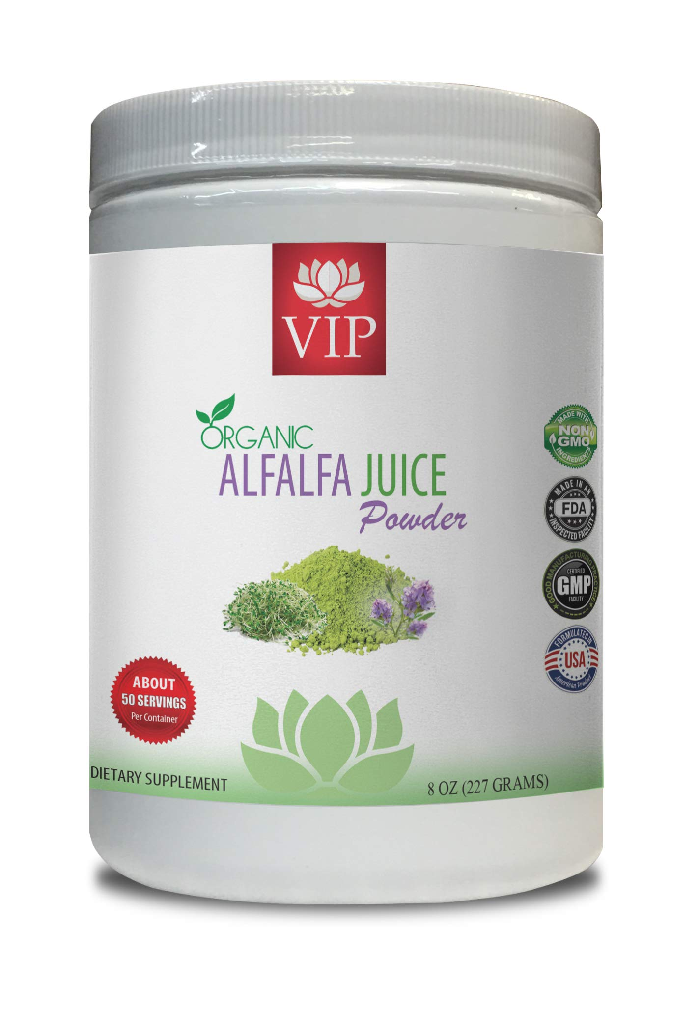 antioxidant Boost - Alfalfa Organic Juice Powder - Alfalfa Juice Powder Organic - 1 Can 8 OZ (50 Servings)