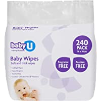 Baby U Fragrance Free Baby Wipes240 count (5160)
