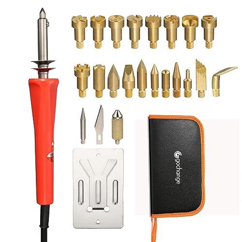 24piezas Juego de pirograbado Leña Soldadura Pen Tool Set, gochange 30W 20PCS Pins de latón reemplazable, cippatrice, madera lápiz hierro, soporte/creación del impostato para cuero, corcho, etc.
