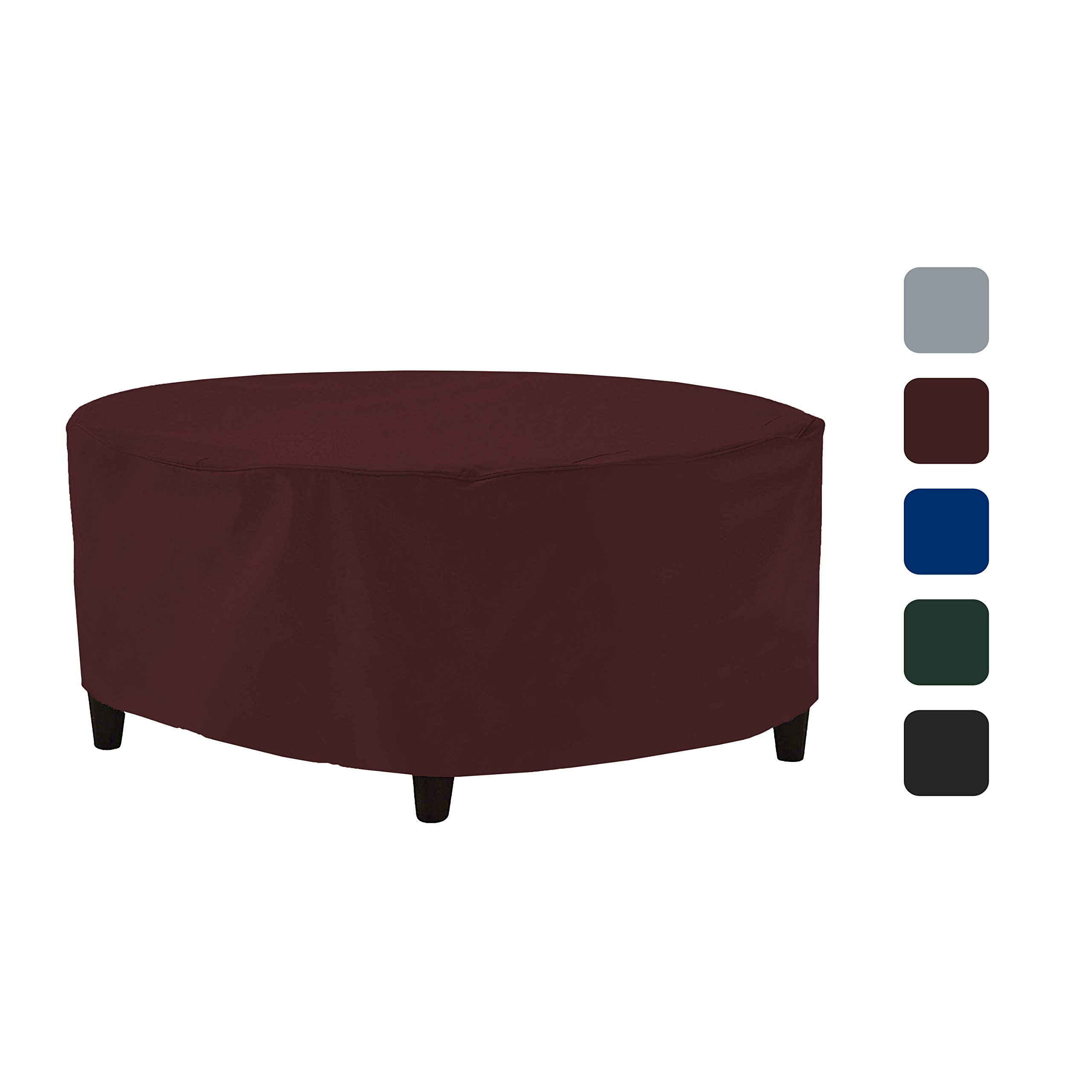Outdoor Ottoman Cover 18 Oz - Waterproof & Weather Resistant Patio Furniture Covers - Round Ottoman Cover Heavy Duty Fabric with Drawstring for Snug fit (50'' Dia x 24'' H, Burgundy) by COVERS & ALL (Image #8)