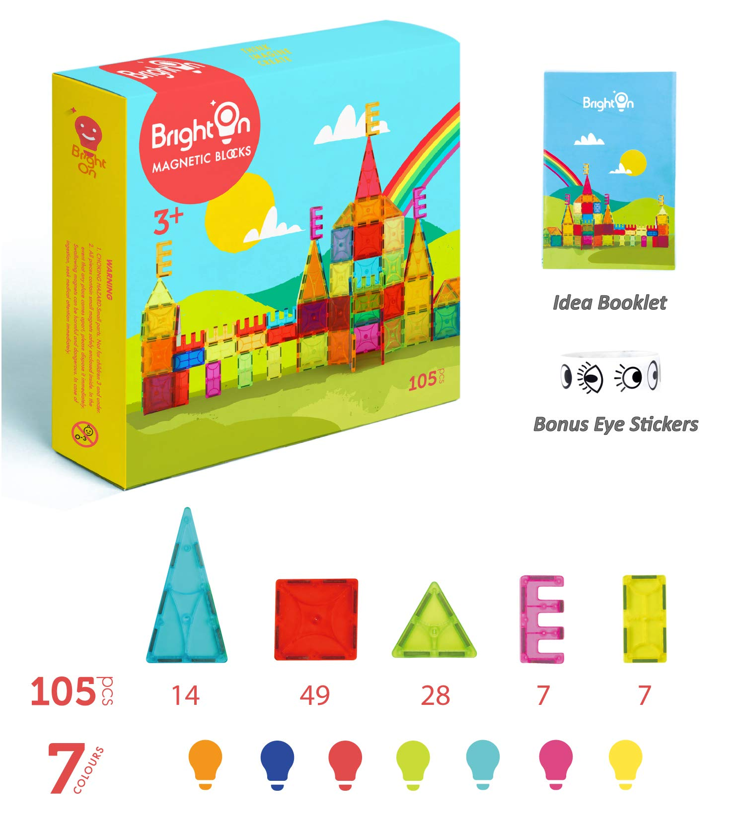 BrightOn Educational Kids Toys Magnetic Building Blocks, Creative Toys 3D Magnetic Blocks for Kids, Imagination Magnets Building Tiles for Children 105Pcs by BrightOn (Image #6)