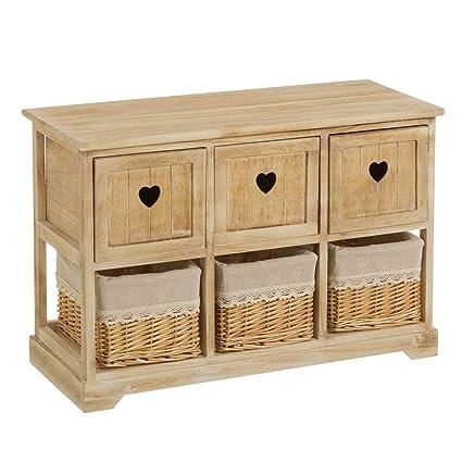 Cajonera de 6 cajones romántica beige de madera para cuarto ...