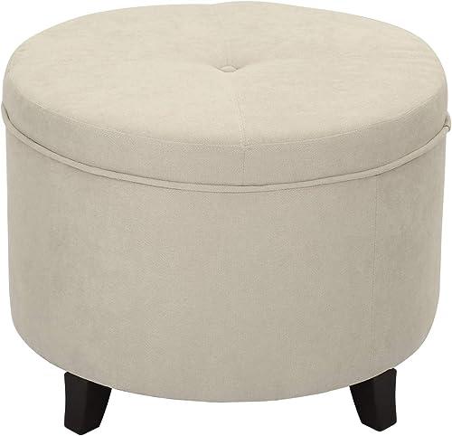 Furnistar 24 Modern Button Round Fabric Storage Ottoman Foot Stool Cream