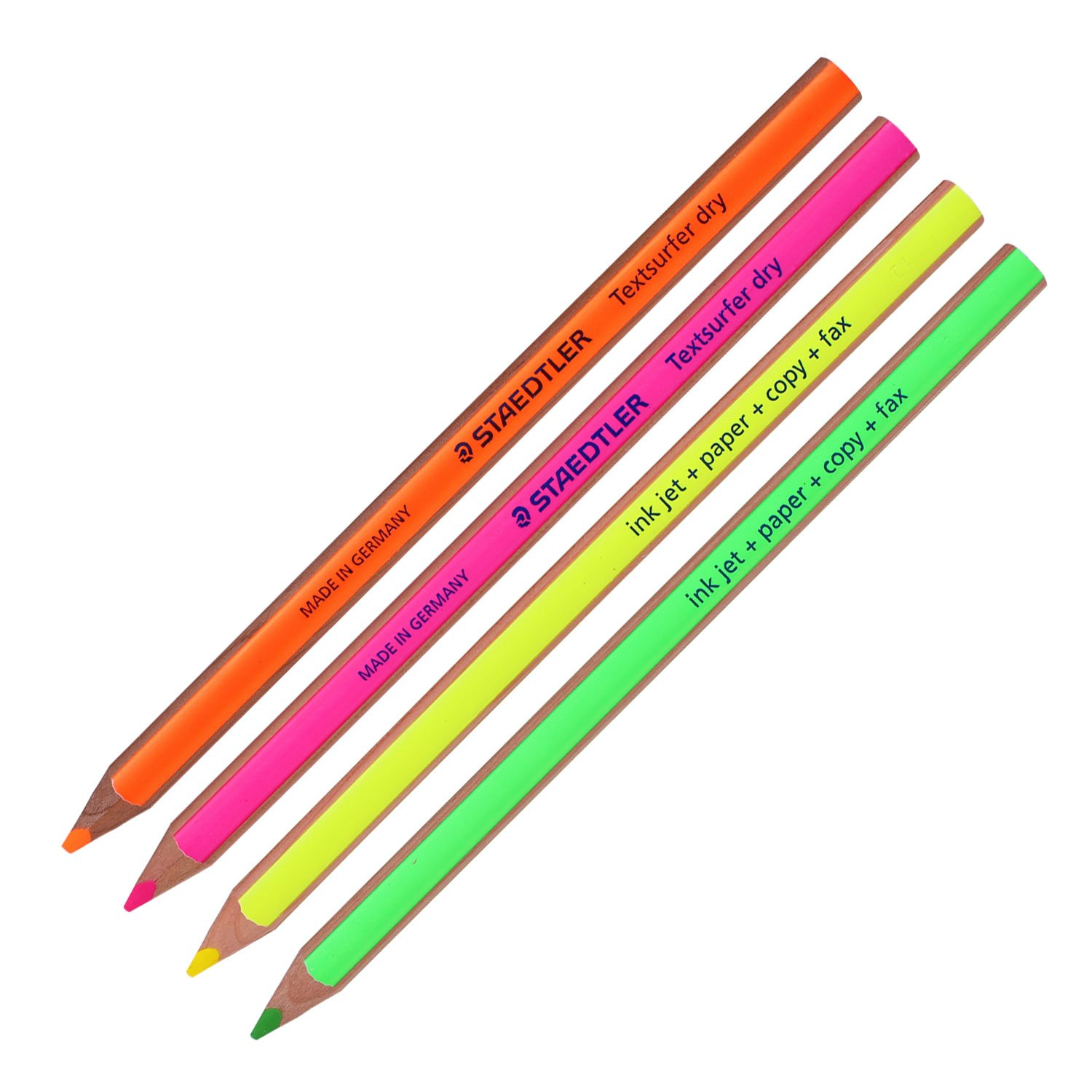 Amazon com staedtler textsurfer dry highlighter pencil 128 64 drawing for writing sketching inkjet paper copy faxpack of 4 color mix 4 pencils