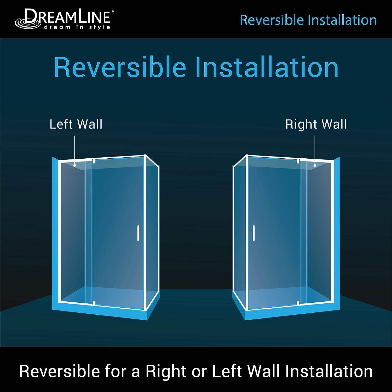 Dreamline Shdr2234460rt04 Flex 34 1 2 In D X 44 48 In W X 72 In H Semi Frameless Pivot Shower Enclosure In Brushed Nickel Amazon Com