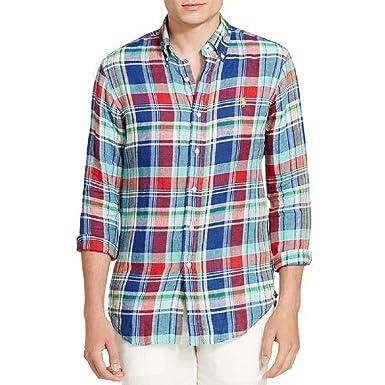 b8c0933cb Polo Ralph Lauren Men s 100% Linen Long Sleeve Plaid Sport Shirt ...