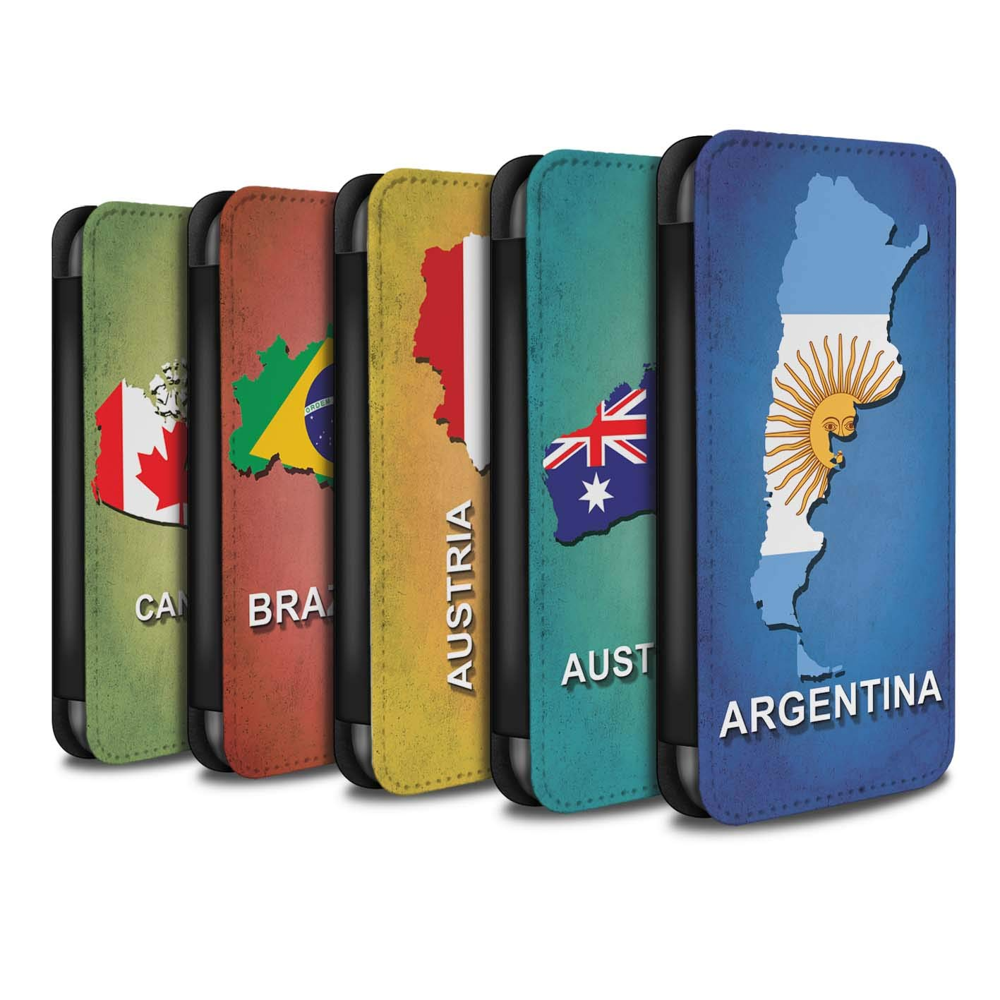 eSwish PU Leather Wallet Flip Case/Cover for Huawei P Smart/Pack 28pcs Design/Flag Nations Collection