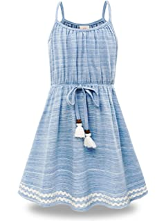 2758e8e392 Bonny Billy Big Girls Spaghetti Straps Solid Cotton Kid Beach Dress