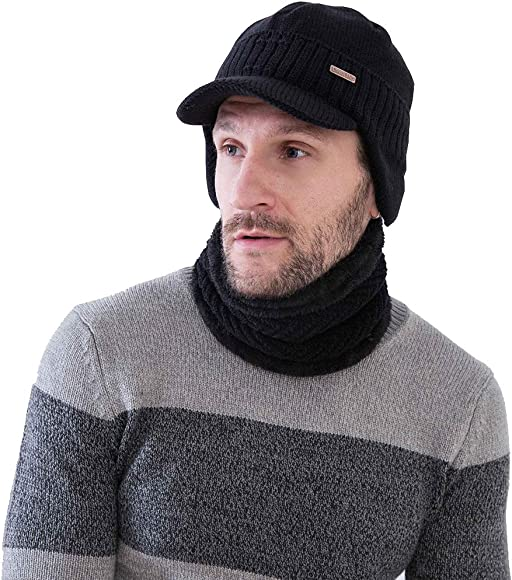 0ba4e9222f2e77 Winter Beanie w/Visor & Earflaps for Men Outdoor Fleece Hat Scarf Set